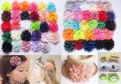 Girls Chiffon Fabric Flower Hair Clips Grips Slides Ponytail Hair Bobbles Pin