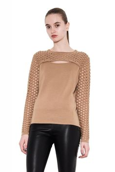 Celene One Grey Day Knit Black Pullover Wool Sweater Perforated Hole