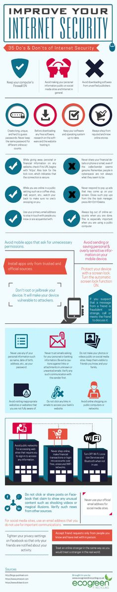A nice infographic that shows you ways to Improve Your Internet Security.  Need advice on this.  Click on pin and contact us.