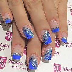 Nail Tip Designs, Blue Nail Designs, Acrylic Nail Designs, Blue And Silver Nails, Blue Nails, Cute Acrylic Nails, Gel Nails, Summer Toe Nails, Pretty Nail Art