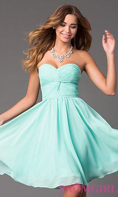 Short Strapless Sweetheart Dress at PromGirl.com Mom can I get this for promotion? :D