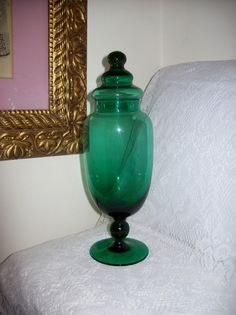 "Vintage Fancy Green Glass Apothecary Jar 13"" Tall Only 25 USD by SusOriginals on Etsy"
