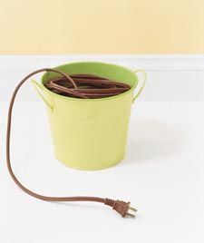 Tangled Extension Cords:   Cowgirls and sailors alike know the benefits of storing ropes neatly coiled. Follow their lead and keep extension cords tangle-free and contained inside a large plastic bucket when they're not in use. posted before