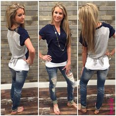 Twist And Shout #TAS4291 A fun navy and grey top with an adorable back is the perfect outfit for a day at the flea market or a summer bbq. Top: $49 NikiBiki Tank Top: $16 Denim: $48 Sandals: $45 To add this fun and casual outfit to your closet, fill out this form athttp://form.jotform.us/form/42265697798173. For immediate assistance call us at 320-774-1533! We ship nationwide! Don't forget to follow us on Facebook at www.facebook.com/ApricotLaneStCloud and on Instagram at…