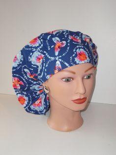 9e3d4365039 Perfect Sized Bouffant Cap...Blue w/Tye Dye Butterflies...Surgical Cap/OR  Scrub Cap/Food Service/Scrub Hats/Veterinarian's Cap