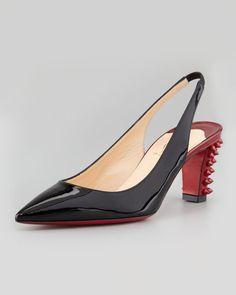 Christian Louboutin - Lemer Patent Spiked-Heel Slingback Pump