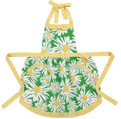 1960's Retro Mod Look Apron Large White Yellow Daisy Flowers Gingham Trim available at Nanalulus Linens and Handkerchiefs