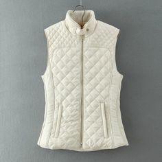 Autumn Winter Women Quilting Plaid Cotton Padded Vest Waistcoat Fashion Sleeveless Jacket