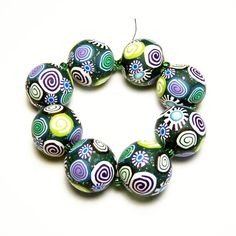 Handmade Beads Polymer Clay Set of Eight by SweetchildJewelry, $12.00