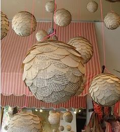 Sweet DIY Newspaper Decoration Ideas With Paper Installation Diy And Crafts, Arts And Crafts, Paper Crafts, Diy Paper, Tissue Paper, Paper Poms, Paper Garlands, Diy Newspaper Decorations, Hanging Decorations