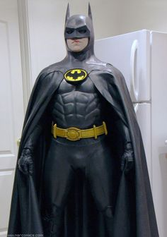 (Batman 1989 movie costume)  Suiting up for Halloween fun night, 2015. Very hot…