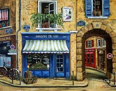 Street Scenes Painting - Maison De Vin by Marilyn Dunlap Madhubani Painting, Oil Painting Abstract, Wine Painting, Painting Art, Mison, French Cafe, French Street, French Architecture, Naive Art