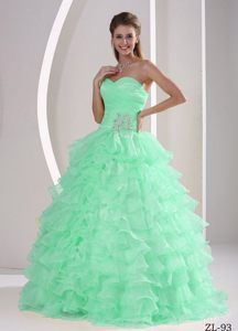 ce660b94127 Buy princess beaded apple green sweet 15 dresses with ruffled layers from elegant  quinceanera dresses collection