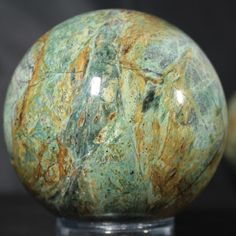 Plasma Agate Sphere, Clear Creek, CA. 3.25 inches in diameter.  Available @ www.rocknspheres.com