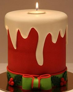 christmas candle cake - For all your cake decorating supplies, please visit… Christmas Cake Designs, Christmas Cake Decorations, Christmas Cupcakes, Christmas Sweets, Holiday Cakes, Noel Christmas, Christmas Baking, Xmas Cakes, Christmas Candles