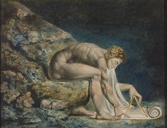 Isaac Newton by English artist William Blake and housed in the Tate Gallery, London. Isaac Newton, Willem De Kooning, William Blake Paintings, Leo Tolstoi, Art Romantique, English Poets, Anselm Kiefer, Arte Tribal, Tate Gallery