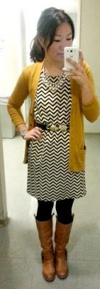 outfit post: chevron dress, mustard cardigan, brown riding boots