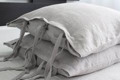 PINK.Set of two linen pillowcases $60 | 100% linen softened light grey linen pillow covers | euro shams | handmade flax pillowcases | linen bedding