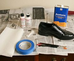Painting leather is a 3 step process: Prep leather by removing existing polish and coatings with acetone. Paint leather with Angelus paints. Finish with an Acrylic Finisher for a gloss or matte finish.