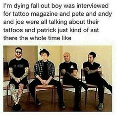 funny fall out boy pictures Emo Band Memes, Emo Bands, Music Bands, Fall Out Boy Memes, Soul Punk, Patrick Stump, Pete Wentz, Panic! At The Disco, My Chemical Romance