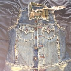 Silver jean vest Brand new denim silver best with green plaid Silver Jeans Other