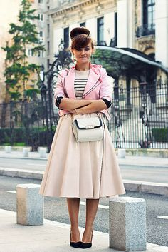 Discover this look wearing Bubble Gum Cropped OASAP Jackets, Gold Chain Zara Bags, Light Pink Pu H&M Skirts - All pink by Chaba styled for Chic, Everyday in the Fall Pink Midi Skirt, Orange Skirt, Purple Skirt, Modest Skirts, Modest Outfits, Fall Outfits, Camel Skirts, Red Skirts, Maxi Skirts