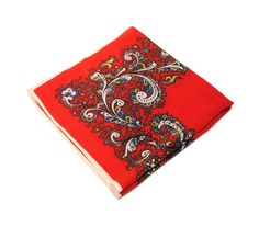 60s Scarf, Red Paisley Virgin Wool, Hand Screen Printed in Japan, FREE US shipping by MorningGlorious on Etsy