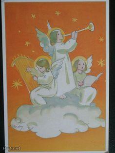 Martta Wendelin Vintage Christmas Cards, Retro Christmas, Christmas Art, Xmas, Very Merry Christmas, Christmas Angels, Book Illustrations, Illustration Art, Girl Face Drawing