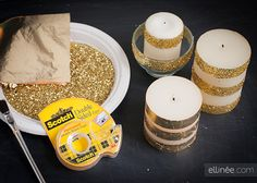 Use foil, glitter and tape to glam up your candels