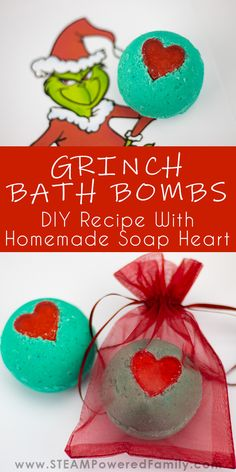 Easy Grinch Christmas Bath Bombs Recipe - These wonderful little bath bombs are a great project to do wtih the kids and include a small homemade soap heart. ChristmasBathBombs BathBombs Grinch via 457467274646673445 Wine Bottle Crafts, Mason Jar Crafts, Mason Jar Diy, Grinch Christmas, Diy Christmas Gifts, Homemade Gifts, Diy Gifts, Craft Gifts, Christmas Bath Bombs