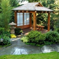 The pergola kits are the easiest and quickest way to build a garden pergola. There are lots of do it yourself pergola kits available to you so that anyone could Small Japanese Garden, Japanese Tea House, Japanese Garden Design, Chinese Garden, Japanese Pergola, Japanese Gardens, Tea House Japan, Japanese Garden Backyard, Japanese Style