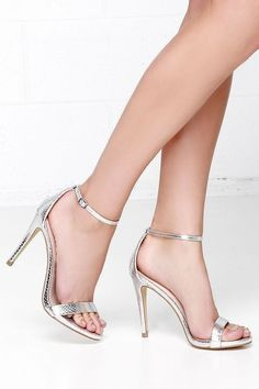 1eccae583 Wherever you go the Steve Madden Stecy Silver Snake Ankle Strap Heels will  step up your style! Faux snakeskin leather shapes a single sole heel with  ankle ...