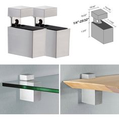 """Dolle Cuadro Stainless Steel Adjustable Shelf Brackets for up to 3/4"""" Shelf - Pair by Dolle. $13.95. For Glass Shelves or Wood Shelves from 1/4"""" to 3/4"""" Thick. The Dolle CUADRO shelf support is made of durable die-cast metal and powder-coated finished for a beautiful look. The Dolle CUADRO rectangular cube design is versatile for all styles of shelves and looks great with both glass and wood shelves. CUADRO shelf supports are designed so no mounting screws or hardware are ..."""