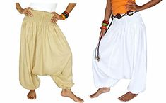Beautiful Double Drop Crotch Harem Creambeige and White Workout Pants Women Loose Baggy Pants Indian Bohemian Style ** Continue to the product at the image link. (This is an affiliate link) #YogaWomensClothing