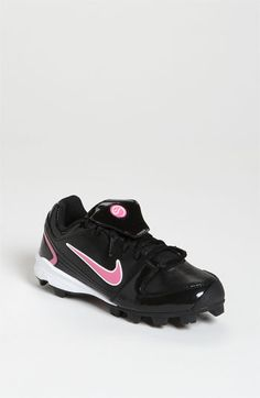Cute pink and black softball cleats! Want to get these for Randi! Softball Gear, Softball Cleats, Girls Softball, Toddler Sports, Kids Sports, Air Max Sneakers, Sneakers Nike, Baseball Shoes, National League