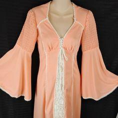 adc803f83e8 Vtg Boho Prairie Dress Maxi Smocked Bell Sleeve Crochet Trim Handmade  Festival M  Handmade