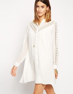 Browse online for the newest ASOS Swing Dress with Broderie Inserts styles. Shop easier with ASOS' multiple payments and return options (Ts&Cs apply). Casual Outfits, Summer Outfits, Fashion Outfits, Summer Dresses, Vestidos Vintage, Vintage Dresses, Asos White Dress, Latest Dress, White Fashion