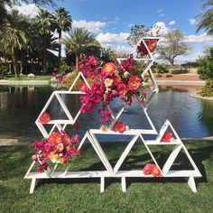 @witty_rentals knew what they were doin when they picked up this triangle shelf . for more wedding inspo, we are focusing wedding things over at @laceandlikesweddings #laceandlikeswedding #sirenfloralco