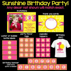 Sunshine Birthday Invitations, Party Decorations, Party Supplies, Customize your Package by OneWhimsyChick on Etsy