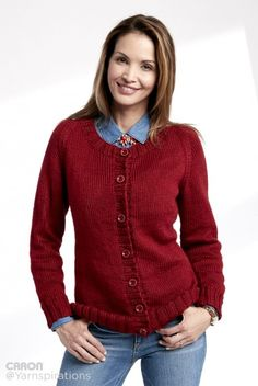 Adult Knit Crew Neck Cardigan - Patterns | Yarnspirations | Caron Simply Soft  | Yarnspirations | Free Pattern | Easy Pattern | New Pattern | New Collection |