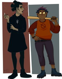 """katt-art: """"Tried my hand at Bea and Mae as humans! Gregg and Angus """""""