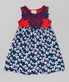 Love this Red & Navy Floral Lace Dress - Toddler & Girls on #zulily! #zulilyfinds