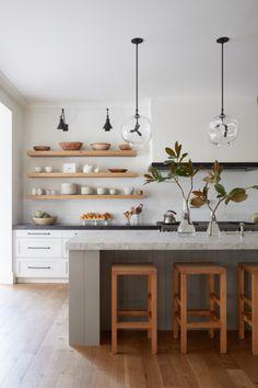 minimalist kitchen design with modern white cabinets and modern kitchen open shelves, scandinavian kitchen design, Open concept shelves Contemporary Kitchen Design, Interior Design Kitchen, Simple Kitchen Design, Home Design, Kitchen Paint, Kitchen Decor, Kitchen Ideas, Kitchen Inspiration, Diy Kitchen