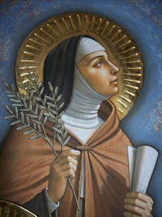 Saint Clair of Assisi Catholic Art, Catholic Saints, Patron Saints, Religious Paintings, Religious Art, Ste Claire, Saint Claire, Oracion A Santa Rita, St Francisco
