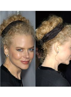2. For naturally curly gals, apply some curl-enhancing mousse or spray and let hair dry naturally. 3. Pull back hair away from face with your hands. In this case you dont have to worry about the frizz factor of your curls, they are supposed to be that way to get this look. 4. Twist hair back into large bun high on your head and pin in place with bobby pins making zigzags or xs.  5. Wrap a scarf or fabric headband around your bun, hiding the pins.