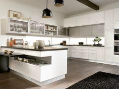 Cozinha lacada TIMELINE | Cozinha com península Coleção Timeline by Aster Cucine