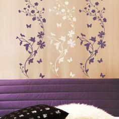 Stencil Wildflower border/stripe LG - Reusable stencil for wall decor