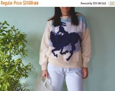 SALE Vintage 80's Horse  Knitted Sweater Cute by kickassvintage