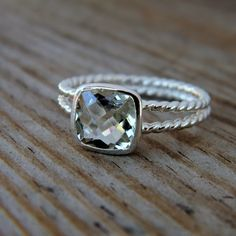 rapunzel ring in mint green cushion green amethyst sterling silver - so pretty and fairly delicate