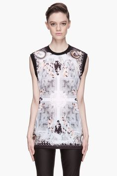 GIVENCHY Grey and white Angel and Madonna print t-shirt
